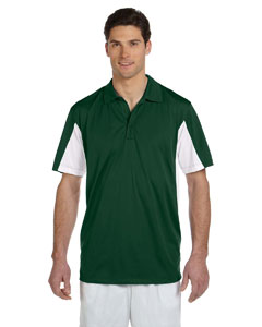 Dark Green/white Men's Side Blocked Micro Piqué Polo