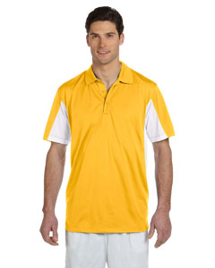 Gold/white Men's Side Blocked Micro Piqué Polo