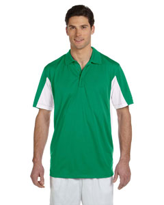 Kelly/white Men's Side Blocked Micro Piqué Polo