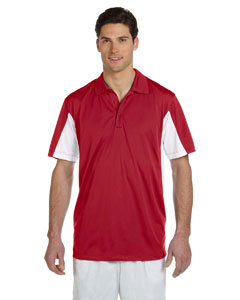 Red/white Men's Side Blocked Micro Piqué Polo