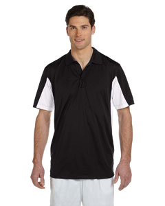 Black/white Men's Side Blocked Micro Piqué Polo