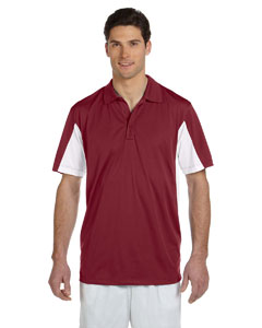 Maroon/white Men's Side Blocked Micro Piqué Polo