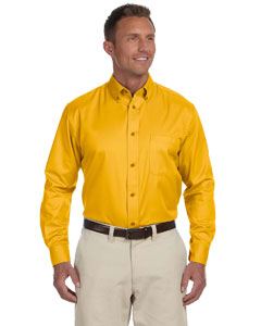 Sunray Yellow Men's Easy Blend™ Long-Sleeve Twill Shirt with Stain-Release