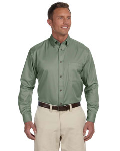 Dill Men's Long-Sleeve Twill Shirt with Stain-Release