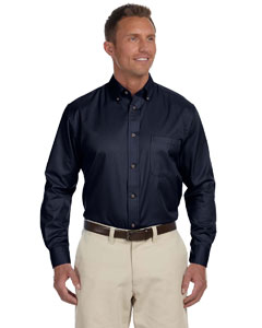 Navy Men's Long-Sleeve Twill Shirt with Stain-Release