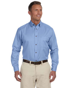 Light College Blue Men's Easy Blend™ Long-Sleeve Twill Shirt with Stain-Release