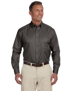 Dark Grey Men's Easy Blend™ Long-Sleeve Twill Shirt with Stain-Release