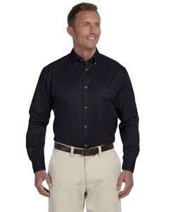 Black Men's Long-Sleeve Twill Shirt with Stain-Release