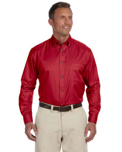 Red Men's Long-Sleeve Twill Shirt with Stain-Release