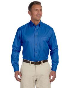 French Blue Men's Long-Sleeve Twill Shirt with Stain-Release