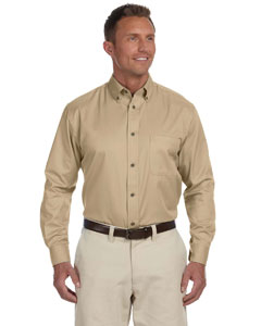 Stone Men's Long-Sleeve Twill Shirt with Stain-Release
