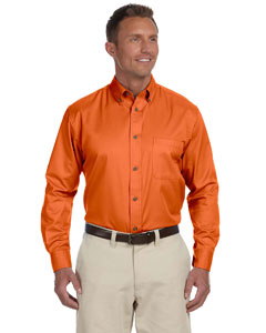 Team Orange Men's Easy Blend™ Long-Sleeve Twill Shirt with Stain-Release