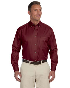 Wine Men's Easy Blend™ Long-Sleeve Twill Shirt with Stain-Release