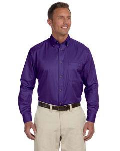 Team Purple Men's Long-Sleeve Twill Shirt with Stain-Release