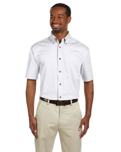 White Men's Short-Sleeve Twill Shirt with Stain-Release