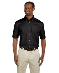 Black Men's Short-Sleeve Twill Shirt with Stain-Release