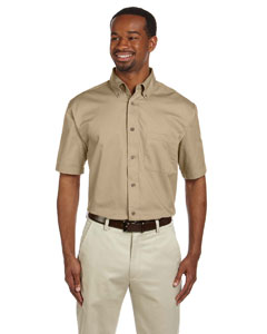 Stone Men's Short-Sleeve Twill Shirt with Stain-Release