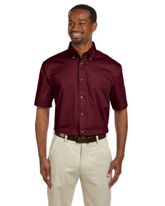 Wine Men's Short-Sleeve Twill Shirt with Stain-Release