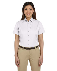 White Women's Short-Sleeve Twill Shirt with Stain-Release