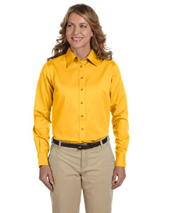 Sunray Yellow Women's Long-Sleeve Twill Shirt with Stain-Release