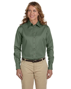 Dill Women's Long-Sleeve Twill Shirt with Stain-Release
