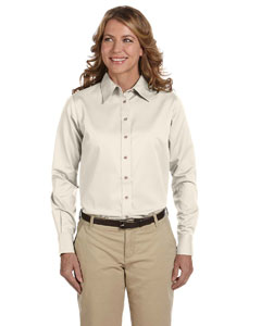 Creme Women's Long-Sleeve Twill Shirt with Stain-Release
