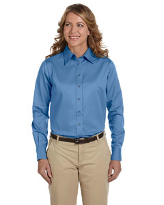 Nautical Blue Women's Long-Sleeve Twill Shirt with Stain-Release