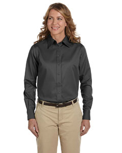 Dark Grey Women's Long-Sleeve Twill Shirt with Stain-Release