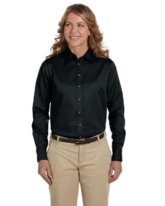 Black Women's Long-Sleeve Twill Shirt with Stain-Release