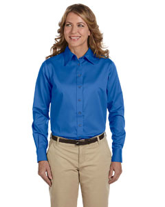 French Blue Women's Long-Sleeve Twill Shirt with Stain-Release