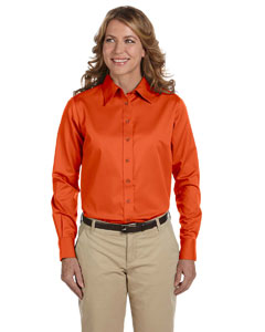 Team Orange Women's Long-Sleeve Twill Shirt with Stain-Release