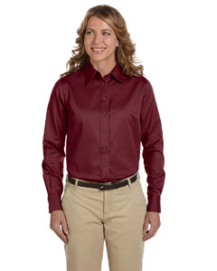 Wine Women's Long-Sleeve Twill Shirt with Stain-Release