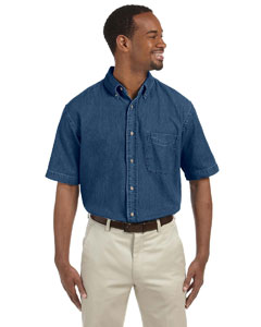 Dark Denim Men's Short-Sleeve Denim Shirt