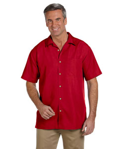 Parrot Red Men's Barbados Textured Camp Shirt