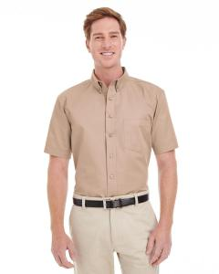 Khaki Men's Foundation 100% Cotton Short-Sleeve Twill Shirt with Teflon™