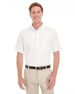 White Men's Foundation 100% Cotton Short-Sleeve Twill Shirt with Teflon™