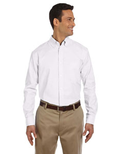 White Men's Long-Sleeve Oxford with Stain-Release