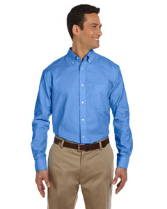 French Blue Men's Long-Sleeve Oxford with Stain-Release