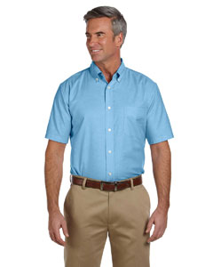 Light Blue Men's Short-Sleeve Oxford with Stain-Release