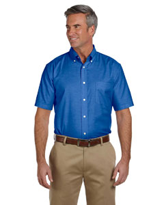 French Blue Men's Short-Sleeve Oxford with Stain-Release