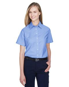 Light Blue Ladies' Short-Sleeve Oxford with Stain-Release