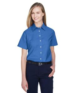 French Blue Ladies' Short-Sleeve Oxford with Stain-Release