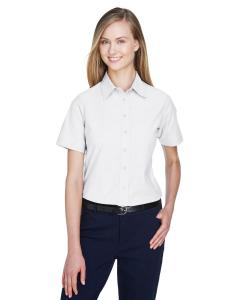 White Ladies' Short-Sleeve Oxford with Stain-Release
