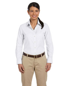 White Ladies' Long-Sleeve Oxford with Stain-Release