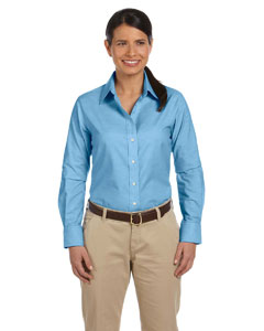 Light Blue Ladies' Long-Sleeve Oxford with Stain-Release