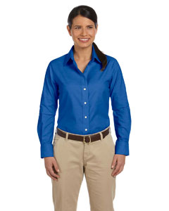 French Blue Women's Long-Sleeve Oxford with Stain-Release
