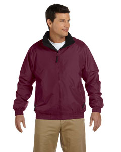 Maroon/black Adult Fleece-Lined Nylon Jacket