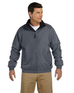 Graphite/black Fleece-Lined Nylon Jacket