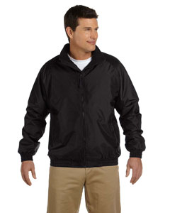 Black/black Adult Fleece-Lined Nylon Jacket