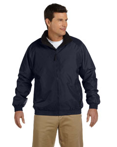 Navy/black Adult Fleece-Lined Nylon Jacket
